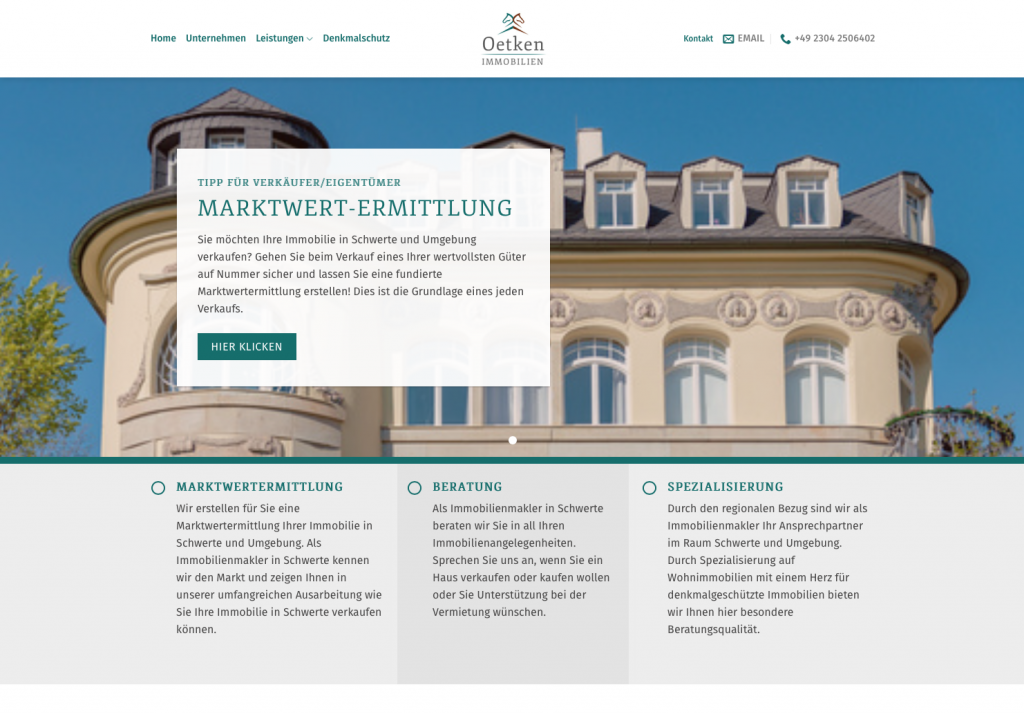 Screenshot der Website Oetken Immobilien